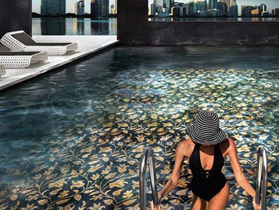 piscinas fondos decorados sinergia y materiales. Black Bedroom Furniture Sets. Home Design Ideas