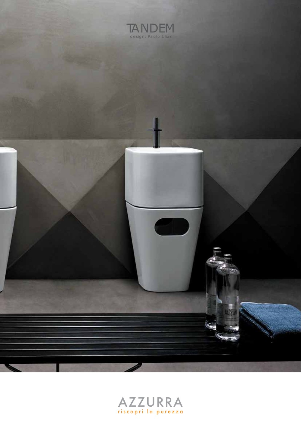 lavabo totem tandem azzurra sinergia y materiales. Black Bedroom Furniture Sets. Home Design Ideas