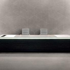 One Hundred New Oxford Street, London, United Kingdom. Architect: Morey Smith, 2013. Interior view-reception desk.