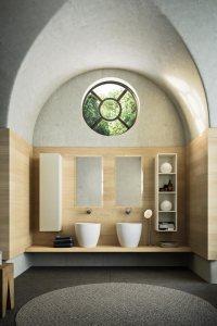 mueble de baño lavabos blancos lavabos sobre encimera madera diseño decoración baño de lujo